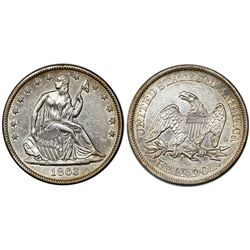 USA (Philadelphia mint), half dollar seated Liberty, 1863.