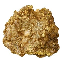 Large gold mineral specimen from a mine in the Dominican Republic, 136 grams.