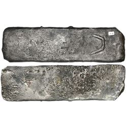 "Medium-sized ""tumbaga"" silver bar #M-89, 4250 grams, stamped with assayer BRAo, serial number RC and"