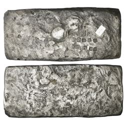 Small  tumbaga  silver bar ( half-brick  shape) #M-42, 2489 grams, stamped with assayer B~Vo, serial