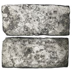 Small  tumbaga  silver bar ( half-brick  shape) #M-43, 2171 grams, stamped with assayer B~Vo, serial