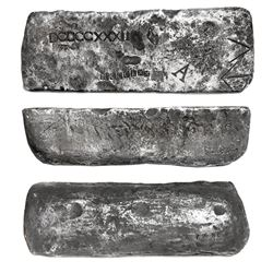 Large silver bar #72, 83 lb 7.52 oz troy, Class Factor 1.0, dated  Po(tosi) 1622  in cartouche, foun