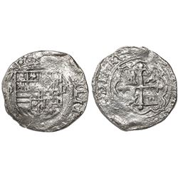 Mexico City, Mexico, cob 1 real, Philip II, assayer O below mintmark oM to left, Grade 2.