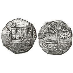 Potosi, Bolivia, cob 8 reales, Philip III, assayer Q/C below dot-inside-C (rare variety), Grade 2.