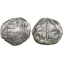 Potosi, Bolivia, cob 8 reales, 1617(M), denomination as O-III-V (rare), Grade 2.