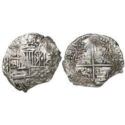 Potosi, Bolivia, cob 8 reales, 16(1)7M, Grade 3.