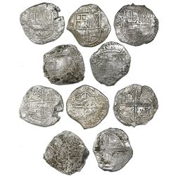 Lot of five Potosi, Bolivia, cob 8 reales, Philip III, various assayers (where visible), all Grade 2