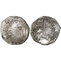 Potosi, Bolivia, cob 4 reales, (1617)M, vertical denomination (rare), Grade 2.