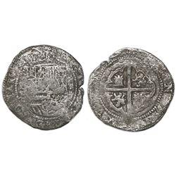 Potosi, Bolivia, cob 2 reales, Philip II, assayer B (3rd period), Grade 1 (Grade-2 quality).