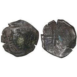Mexico City, Mexico, cob 8 reales, Philip IV, assayer P, with canvas-bag remains on shield.