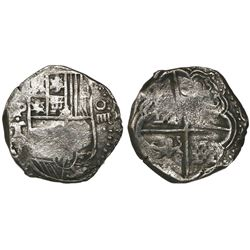 Potosi, Bolivia, cob 4 reales, Philip IV, assayer T (1630s).