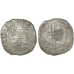 Potosi, Bolivia, cob 8 reales, 16(50-1)O, with crowned-L countermark on cross.