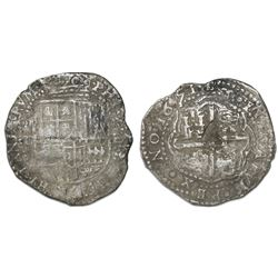 Potosi, Bolivia, cob 8 reales, 1651E, unidentified countermark on cross.