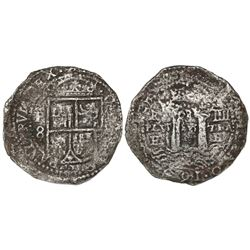 Potosi, Bolivia, cob 8 reales, 1652E transitional Type III/A, rare.