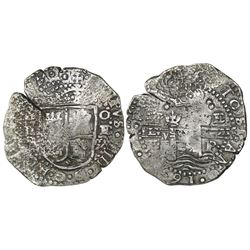 Potosi, Bolivia, cob 8 reales, 1652E transitional Type VII/A (very rare variety).