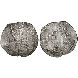 Potosi, Bolivia, cob 8 reales, 1652E post-transitional (Transitional Type VIII/B), 1-PH-6 at top.