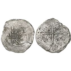 Mexico City, Mexico, cob 8 reales, Philip IV, assayer P (ca. 1650).
