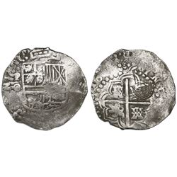 Potosi, Bolivia, cob 8 reales, 1649O/Z (rare), with crowned-L countermark on cross.