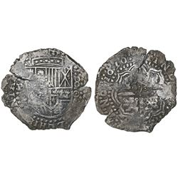 Potosi, Bolivia, cob 8 reales, 1650O, early-style date, with crowned-(?) countermark on cross.