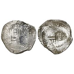 Potosi, Bolivia, cob 8 reales, (1)650O, early-style date, with crowned-L countermark on cross.