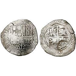 Potosi, Bolivia, cob 8 reales, (1)650O, dots between digits, modern 5, with crowned-(?) countermark