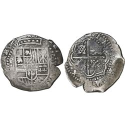 Potosi, Bolivia, cob 8 reales, (1649-50)O, with crowned-T countermark (rare) on cross.