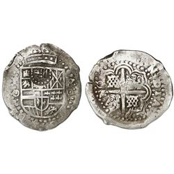Potosi, Bolivia, cob 8 reales, (1649-50)O, with crown-alone countermark (common variety) on shield.