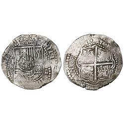 Potosi, Bolivia, cob 8 reales, (16)51O, with crowned-dot-F-dot countermark (4 dots) on shield.