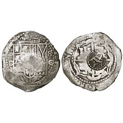 Potosi, Bolivia, cob 8 reales, (1651)O, with crowned-L countermark on cross.