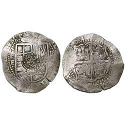 Potosi, Bolivia, cob 8 reales, (1)651E, with crowned-dot-F-dot countermark (4 dots) on shield.