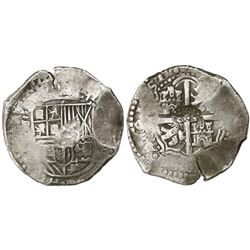 Potosi, Bolivia, cob 8 reales, (16)51E, with crowned-(?) countermark on cross.