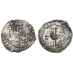 Potosi, Bolivia, cob 8 reales, (16)51E, with crowned-L countermark on cross.
