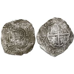 Potosi, Bolivia, cob 8 reales, 1651E, with crowned-dot-F-dot countermark (2 dots) on shield.