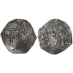 Potosi, Bolivia, cob 8 reales, (1652)E transitional Type IV/A.