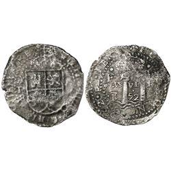 Potosi, Bolivia, cob 8 reales, 1652E transitional Type V/A, motto as PLVS-VL-TRA, very rare.