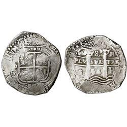 Potosi, Bolivia, cob 8 reales, 1654E.