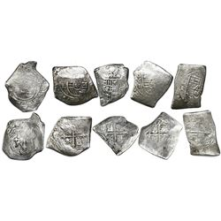Lot of five Mexico City, Mexico, cob 8 reales, Charles II, assayers G and L (all visible).