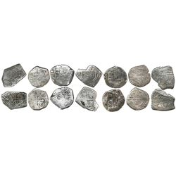 Lot of seven Mexico City, Mexico, cob 4 reales, Charles II, various assayers (where visible).
