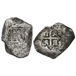 Mexico City, Mexico, cob 8 reales, Philip V, assayer R (1729-30).