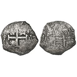 Potosi, Bolivia, cob 8 reales, 1726Y, Louis I, rare.