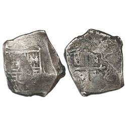 Mexico City, Mexico, cob 8 reales, Charles II, assayer not visible.