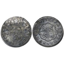 "Seville, Spain, milled 2 reales ""pistareen,"" Philip V, 1724J, rare provenance."