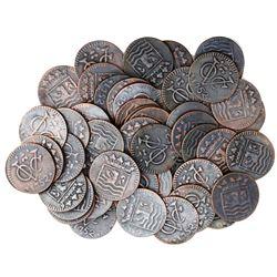 Large lot of 50 Zeeland, Netherlands (East India Co.), copper duits, 1752.