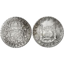 Mexico City, Mexico, pillar 8 reales, Ferdinand VI, 1750MF, 7/7 in date.