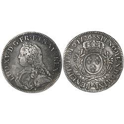 France (Bordeaux mint), ecu, Louis XV, 1726-K.