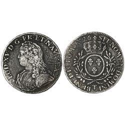 France (Nantes mint), ecu, Louis XV, 1726-T.