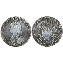 France (Rouen mint), ecu, Louis XV, 1727-B.