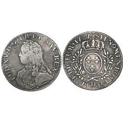 France (Lyon mint), ecu, Louis XV, 1727-D.
