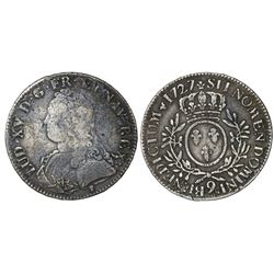 France (Rennes mint), ecu, Louis XV, 1727, mintmark 9.