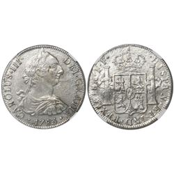 Mexico City, Mexico, bust 8 reales, Charles III, 1783FF, encapsulated NGC Genuine / El Cazador.